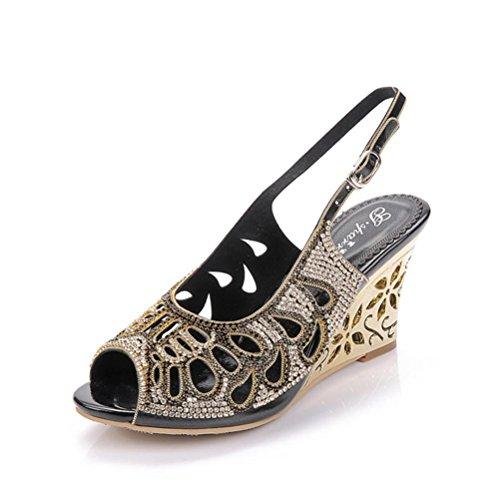 QPYC Openwork Diamond Rome Tacchi alti pesce bocca cristallo fine con fibbia strass donna sandali grandi dimensioni black