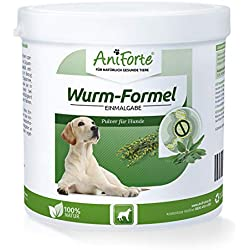 AniForte Wurm-Formel 250 g für Hunde, Einmalgabe und 100 Prozent natürlich, Bei und nach Wurmbefall