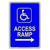 Handicap zugänglich Rampe entrace mit Pfeil Rollstuhl Richtung Hinweis Aluminium Schild Blechschilder Vintage Dose Teller Schilder dekorativer Schild 12x 18