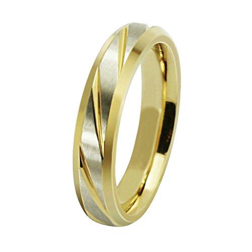 AmDxD Schmuck Damen Ringe Edelstahl (mit Gratis Gravur) Streifen Ehering Silber Gold Größe 60 (Pierre Silber Kostüme)