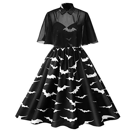 Aiserkly Damen 50er Jahre Rockabilly Kleid Elegante Kleider Knielang Retro Abendkleid Swing Dress Renaissance Kostüm Kleider Kostüme Halloween Schwarz (Böse Hexe Des Westens Sexy Kostüm)