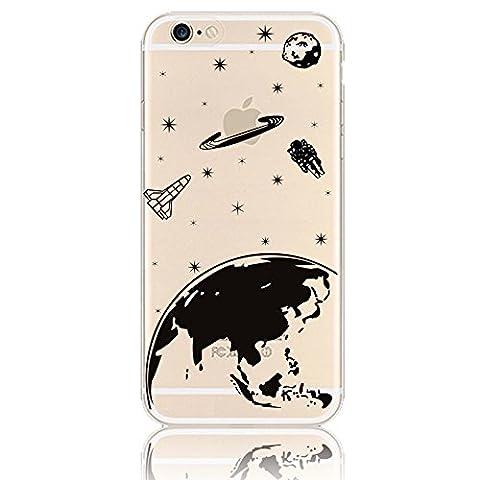 Coque Silicone iPhone 5 - Sunroyal® Ultra Mince Transparente TPU Coque Case pour Apple iPhone 5 5S Premium Flex Skin de Protection Shock-Absorption Bumper et Anti-Scratch, Universe Cosmos