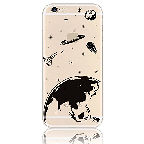 Coque pour iPhone 6/6S, Sunroyal® Housse Etui de Protection Cartoon Case Cover en TPU Silicone Transparent Souple Ultra-Slim avec Fonction Bouchon Anti-poussière pour Apple iPhone 6/6S (4.7 pouces) (D TPU Case 04