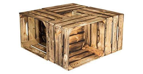 4er Sparpaket geflammte flambierte Holzkiste/ Obstkiste mit Griff und 3 Seitenbretter - Kiste aus Holz Weinkiste Dekokiste Sitzkiste - dunkel rustikal stabil massiv 49x40x28cm
