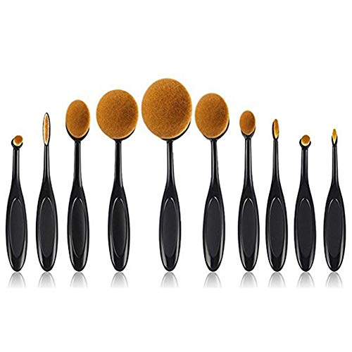 Ideapark Oval Make-up Pinsel Set, 10 Stück Professionelle Foundation Concealer Verblender Pinsel...