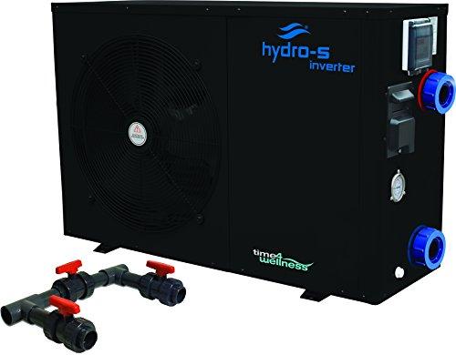 Hydro-S Wärmepumpe Stahl Typ Inverter Seitlich optional mit Bypass-Set von time4wellness (12 kW, mit Bypass) -
