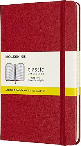 Moleskine Klassisches Kariertes Notizbuch (Hardcover mit Elastischem Verschlussband, Größe Medium 11,5 x 18, 208 Seiten) Scharlachrot