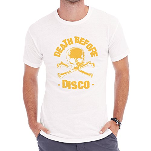 Death Before Disco Yellow Skull And Script Yellow Edition Herren T-Shirt Weiß