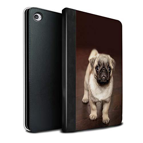 eSwish PU-Leder Hülle/Case/Brieftasche für Apple iPad Mini 4 Tablet/Netter Mops Hund Hündchen Muster/Süß Baby Tier Fotos Kollektion - Mops-fotos