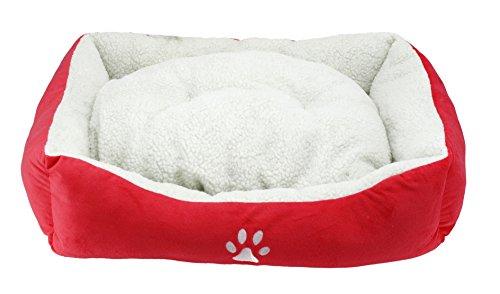 BPS® Cama para Perros y Gatos Cálido Cubierta Suave Tipo Cuna Mullida BPS-1528 (Rojo Brillante)