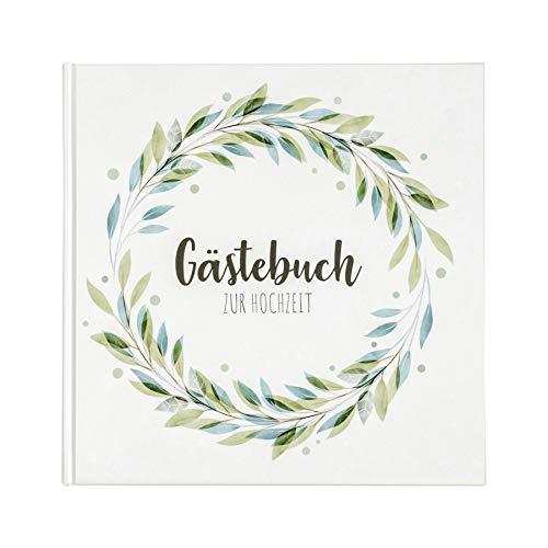 Gästebuch Hochzeit (Hardcover 21x21 cm) - Hochzeitsbuch mit Farben im Aquarell-Stil - Hochzeitsgästebuch mit 104 weißen Seiten auch als Fotoalbum und Fotobuch geeignet - Vintage Floralkranz Grün