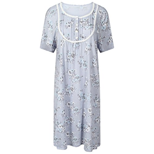 1baa30ebc3b7d Ladies Famous Make Standard Length Jersey Nightdress. Blue Floral. Sizes  8-10 12