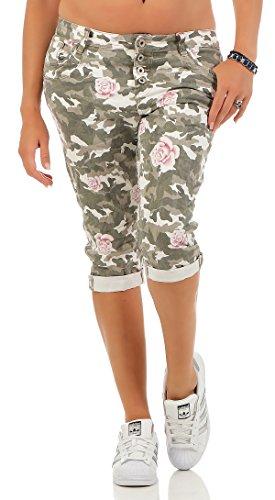 SKUTARI Damen - Boyfriend Jeanshose Camouflage 7/8 kurz Capri Shorts (D42/XL, Army/Rose)