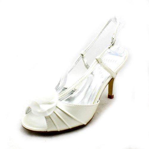 Dama Honor De De Marfil Satén De Pie Partido Del Zapatos Del Del Dedo De Alto De Los Tacón SwXSAIqY