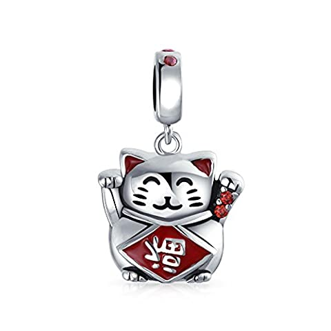 Bling Jewelry Kitty of Good Fortune Enamel Charm Bead .925 Sterling Silver