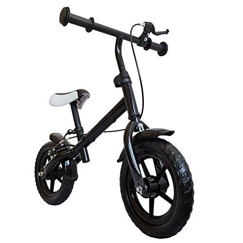 Bicicletta senza pedali, con freno a mano, ruote circa 30,3cm (12pollici), colore Nero, mitwachsendes lernlaufrad, Girello, Roller per bambini a partire dai 2anni