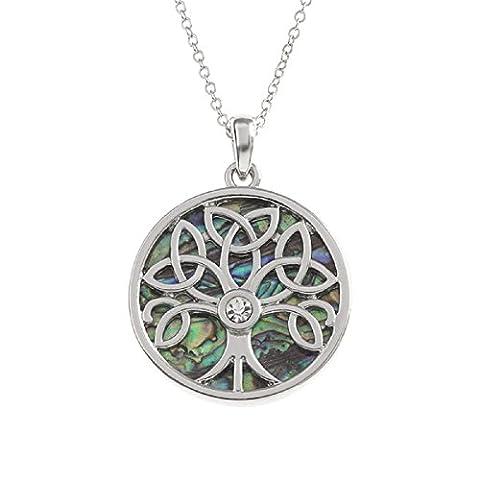 BellaMira Abalone Tree of Life Celtic Necklace
