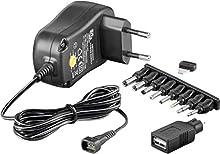 Goobay 53996 Bloc d´alimentation universel 1000mA 3V / 4,5V / 5V / 6V / 7,5V / 9V / 12V avec 8 embouts adaptables et une prise USB inclus