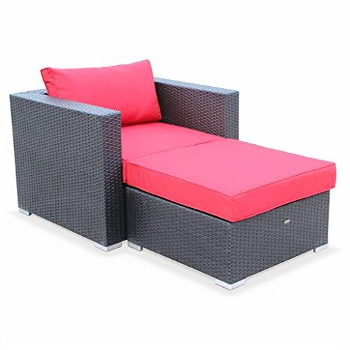 Alice's Garden Salon de jardin - fauteuil + pouf en résine tressée - Noir, coussins Rouge