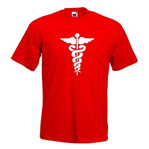 KIWISTAR - Äskulapstab - Ärztesymbol - Schlangen T-Shirt in 15 verschiedenen Farben - Herren Funshirt bedruckt Design Sprüche Spruch Motive Oberteil Baumwolle Print Größe S M L XL XXL Rot
