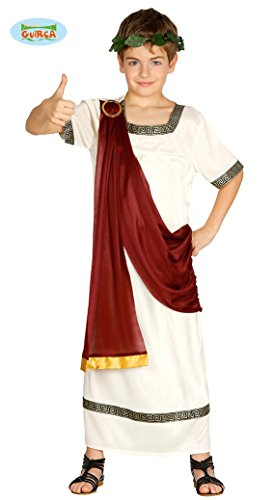 Guirca antiker Römer Karneval Motto Party Kostüm für Kinder Rot Weiß Gold Gr. 110-152, Größe:146/152