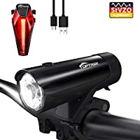 Toptrek Fahrradlicht StVZO Zugelassen Fahrradbeleuchtung Set akku USB Wiederaufladbare 50 Lux IPX5 Wasserdicht Samsung Li-ion Batterie/CREE LED Fahrradlampe (Schwarz)