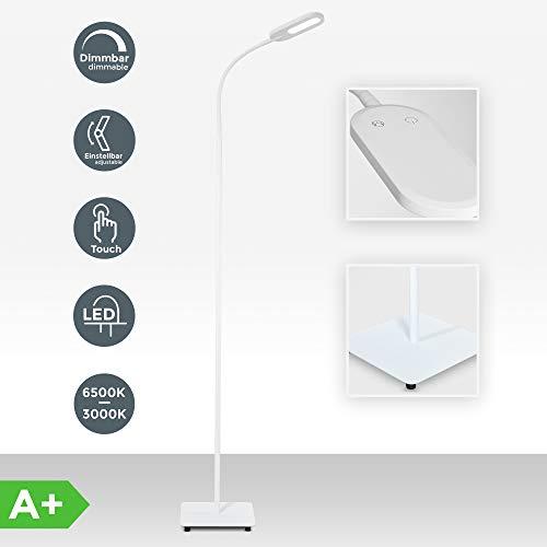B.K.Licht lampe sur pied salon, platine LED 8W, luminosité réglable, tête flexible, choix de lumière: blanc chaud, neutre ou froid, fonction TOUCH, lampadaire moderne chambre bureau salle à manger