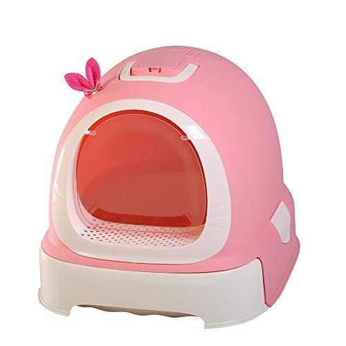 LEP Selbstreinigende Katzentoilette, vollständig geschlossene Katzentoilette mit herausnehmbarem und waschbarem Boden, spart Mühe/Schublade, für Katzen innerhalb von 15 Jin,C -