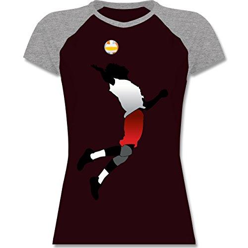Volleyball - Volleyballspieler Aufschlag - zweifarbiges Baseballshirt / Raglan T-Shirt für Damen Burgundrot/Grau meliert
