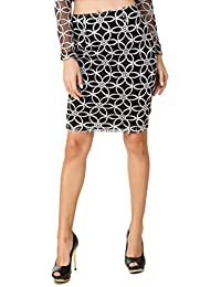 TEXCO White Floral Embroidered Lace Knee Length Women Skirt