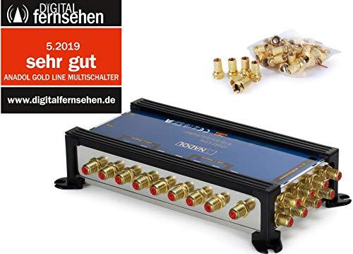 Anadol Gold Line 9/8 digitaler Multischalter [ Test SEHR GUT ] Multiswitch für 2 Satelliten und 8 Ausgänge/Receiver - mit externem Netzteil - 17 vergoldete F-Stecker gratis