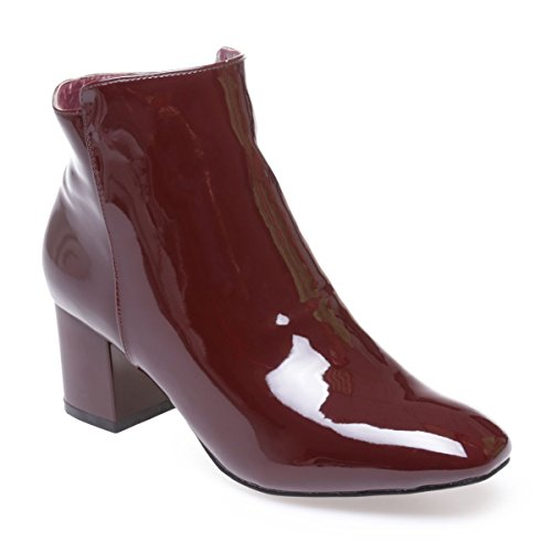 La Modeuse - Bottines en simili cuir vernis Rouge