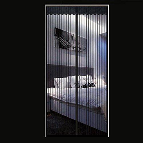 DW&HX Magnetische Gitter Fliegengitter,Heavy-Duty Verstärkte Mesh & Full-Frame Klettband Anti-insektenschutz Haustierfreundlich Magnetische Schirmtür -schwarz 100x230cm(39x91inch)