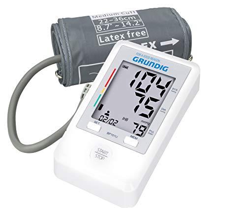 GRUNDIG Digitales Oberarm Blutdruckmessgerät - Sehr kompakt, ideal für unterwegs - großes Display - automatische Messung, Arrhythmie-Anzeige, Pulsmessung - 2 * 90 Speicherplätze Mittelwertberechnung