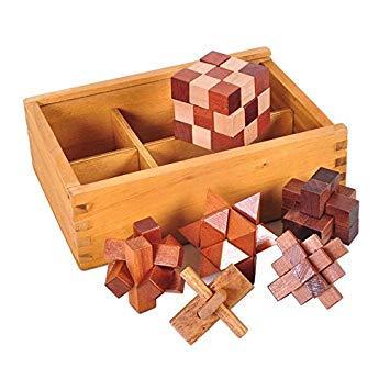 SODIAL 6 Teile/satz Holz Puzzle IQ Denkaufgabe Kantrille Verflechtung Puzzles Spiel Spielzeug Geschenk fuer Erwachsene Kinder