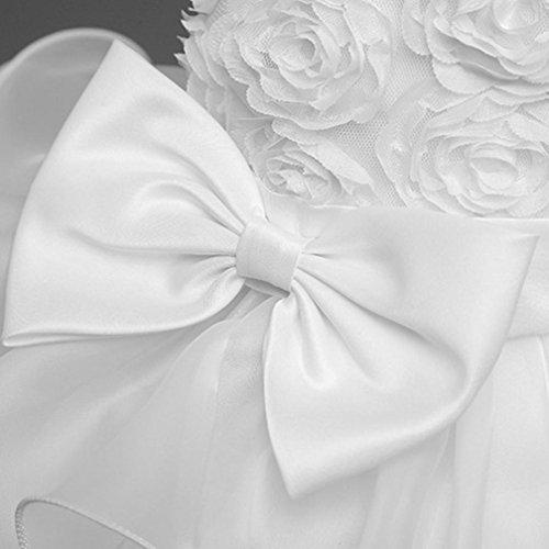 ❤️Kobay Kinder Baby Mädchen Blumen Geburtstag Hochzeit Brautjungfer-Festzug Prinzessin Abendkleid (70/0.5-1Jahr, Weiß) - 4