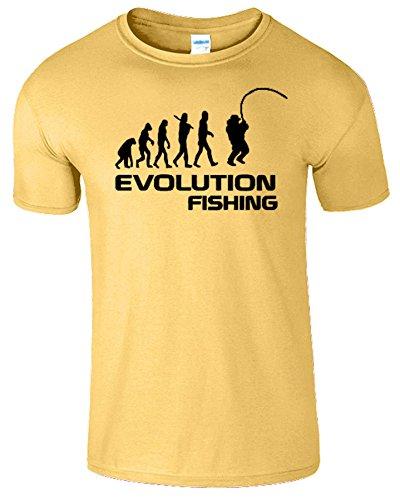 Fishing Evolution Komisch Geburtstag Geschenk Herren T-Shirt Gänseblümchen / Schwarz Design