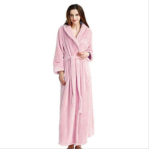 Alte Kostüm Nachthemd Dame - SHANGXIAN Damen Flanell Bademantel Nachtwäsche Lange Ärmel Warm und gemütlich Winter Kimono Lange Robe Nachthemden,Rosa,XL