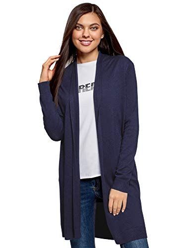 oodji Collection Damen Langer Verschlussloser Cardigan, Blau, DE 44 / EU 46 / XXL
