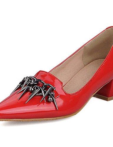 WSS 2016 Chaussures Femme-Habillé / Décontracté / Soirée & Evénement-Noir / Rouge / Blanc-Gros Talon-Talons / Bout Pointu-Talons-Cuir Verni black-us9.5-10 / eu41 / uk7.5-8 / cn42