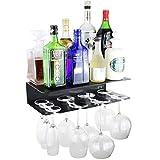 Eterr Mobile Bar Mensola da Parete per Bicchieri e Bottiglie. Prodotto in Spagna. Nero