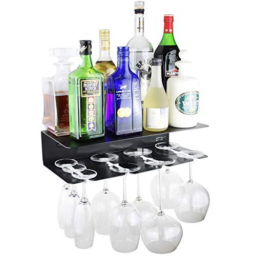 Eterr Mobile Bar Mensola da Parete per Bicchieri e Bottiglie. Prodotto Spagna. Nero