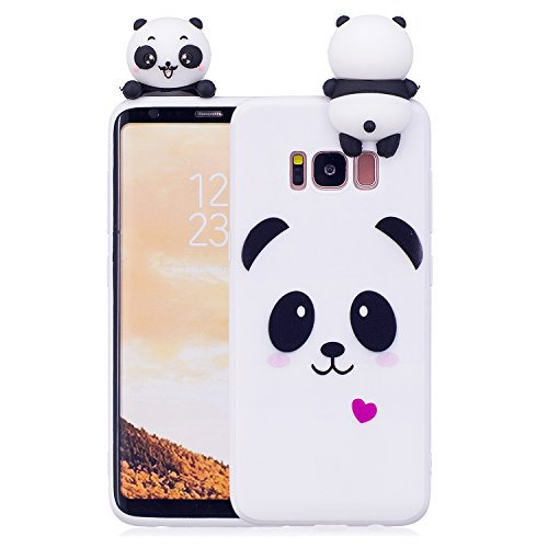 Artfeel Niedlich 3D Karikatur Panda Hülle für Samsung Galaxy S8 Plus, Bunt Schön Tier Muster Weich Silikon Zurück Handyhülle,Ultra Dünn Flexibel TPU Bumper Stoßfest Schutzhülle-Weiß -