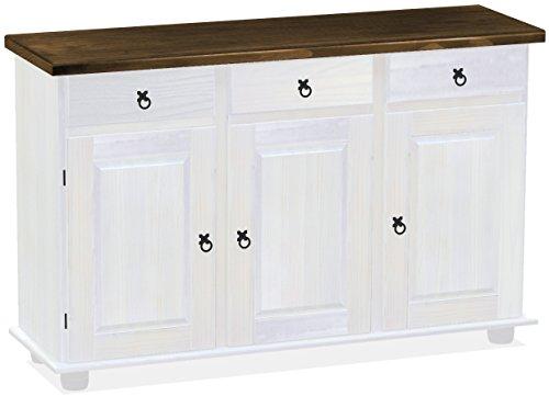 Honig Eiche Buffet (Brasilmöbel Sideboard, Pinie Massivholz, geölt und gewachst Eiche antik – weiß, L/B/H: 129 x 40 x 83 cm)