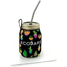 Jarra de yugo de Smoothie To Go, jarra de zumo para cactus Cacti, negro