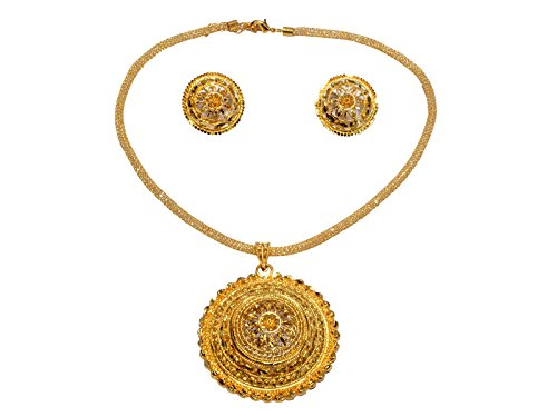 Mansiyaorange Party Wedding Wear Original Royal Look One Gram Gold Premium Pendant Necklace Set For Women  available at amazon for Rs.485