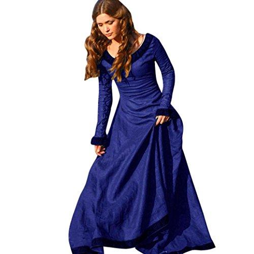 Kleid damen Kolylong® Frauen Elegant Spitze Kleid Lange Herbst Winter Vintege Langarm Kleid Cocktail Party Kleid Abendkleid Cosplay Kostüm (L, Blau) (Blau Bodysuit Kostüme)
