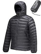 Lesmart Men's Down Jacket with Hood Ultralight Packable Windproof Durable Winter Warm Coat for Outdoor Sport Grey Size L