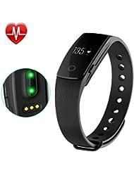 AsiaLONG Fitness Tracker mit Pulsmesser Bluetooth Fitness Aktivitätstracker Pulsuhr armband mit Schrittzähler / Schlafanalyse / Kalorienzähler / SMS SNS Vibration Fitness Tracker für Android und IOS