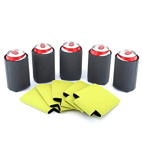 Nuovoware Can Coolers Sleeves Neoprene, [10-Pack] Premium Collapsible Insulated Drink Coolies for Cans Bottles Beer Soft Drink, Perfect for BBQ, Parties, DIY Projects and More, 5 Gray + 5 Yellow -